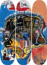 skull skateboard triptych (set of 3) by jean-michel basquiat