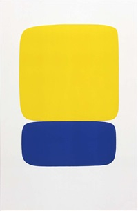 yellow over dark blue by ellsworth kelly