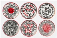 set of 6 plates by keith haring