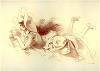 femme dans l'herbe 1 (selling as part of set) by jules chéret