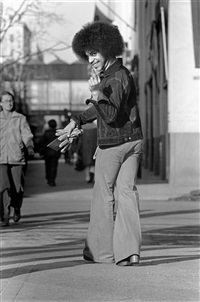 prince walking, giving the finger by robert whitman