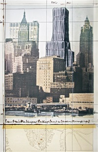 lower manhattan wrapped buildings, project for 2 broadway, 20 exchange place by christo and jeanne-claude