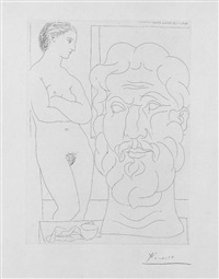 marie-therese regardant un autoportrait sculpte du sculpteur (from suite vollard) by pablo picasso