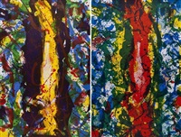 untitled (sf-343) and untitled (sf-344); 2 works by sam francis