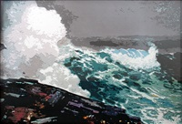 northeaster, after winslow homer (pictures of paper - color) by vik muniz
