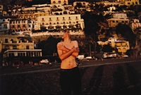 pawel on the beach laughing, positano, italy by nan goldin