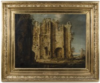 gothic church ruin with shepherd and sheep, the fund bluish landscape by pierre antoine patel