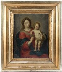 allegori om hur oskulden, jungfru maria, med hjälp av sin son, jesus, trampande på en orm och med ett äpple i sin hand, bekämpar arvsynden och de onda by theodor van thulden