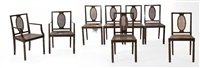 six chairs and two armchairs by axel einar hjorth