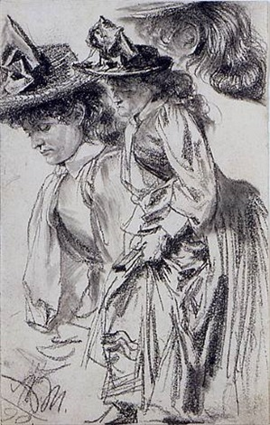 study of a standing woman and subsidiary studies of her head and hair by adolph von menzel