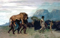 return from the lion hunt by jean-léon gérôme