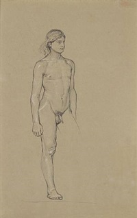 nude youth. peparatory drawing for the etching 'integer vitae' by max klinger