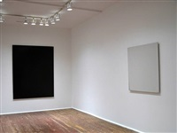 installation view - front room - violet painting, 2004 (left), white painting, 2004 (right) by joseph marioni
