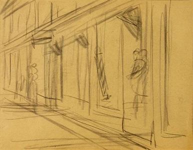 street scene with barbershop by edward hopper