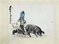 chinese painting by huang zhou mounted with no frame by huang zhou