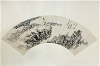 chinese fan painted by zhang da qian by zhang daqian