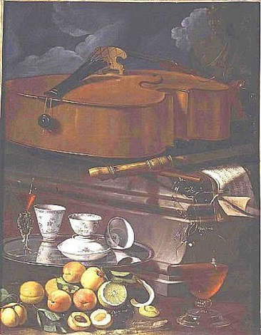 a still life – porcelain cups and a façon de venise glass on a salver, with an ewer of wine, a peeled lemon, peaches and other fruit, all before a plinth with a cello, a recorder and scores of music by cristoforo munari