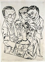 the artist (or draughtsman) in society (der zeichner in gesellschaft) by max beckmann