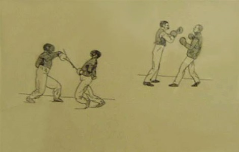 studies of fencers and boxers by edward hopper