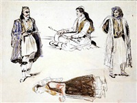 study of three albanian arnavuts and a woman in albanian costume by eugène delacroix