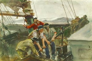 campfire and pumping bilge: a double sided watercolor by john whorf