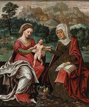 la vierge à l'enfant avec sainte anne by maitre au perroquet