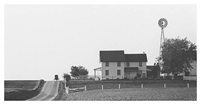 buggy and farmhouse with windmill by george tice