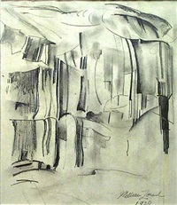 a wall of cliffs, yosemite by william zorach