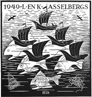 (fish & boats) new year's greeting card - 1949 by m. c. escher