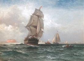 shipping off governor's island, new york harbor, circa 1870 by edward moran