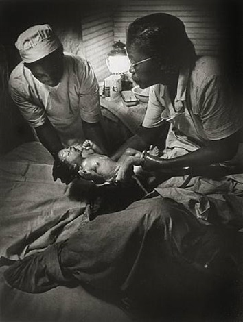 nurse midwife delivering baby by w. eugene smith