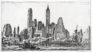skyline from pier 10, brooklyn by reginald marsh