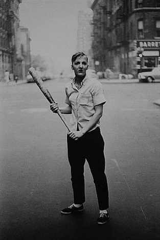 teenager with a baseball bat, nyc by diane arbus