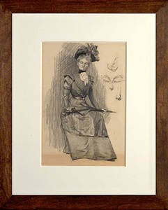 verso: seated woman in a gown with hat and parasol by edward hopper