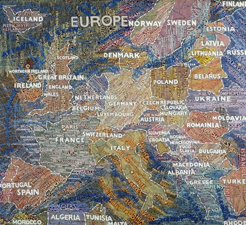 Map of europe von Paula Scher auf artnet