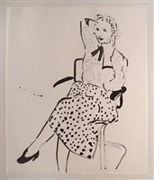 celia with polka dot skirt by david hockney