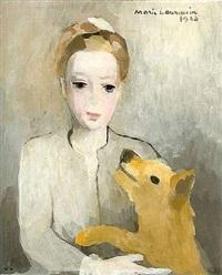 portrait de jeune fille au chien / portrait of a young girl with dog by marie laurencin