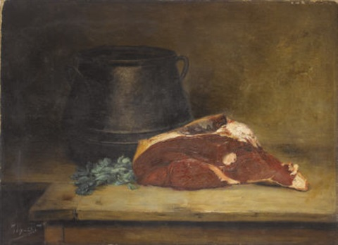 still life with meat parsley and jug by jean baptiste siméon chardin
