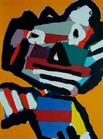 face (orange) by karel appel