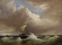 untitled (seascape with single-mast fishing vessel) by thomas h. hair