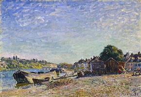 les bords du loing a saint mammes by alfred sisley