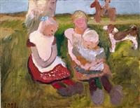 drei kinder an einem hang sitzend mit hund und pferd (three children sitting with a dog and a horse) by paula modersohn-becker