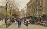 <i>flower market, la madeleine</i> by eugène galien-laloue