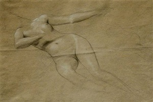 floating female nude by gustav klimt