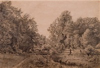 edge of the forest with bridge over stream by william trost richards