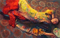 reclining beauty with fan by chen yifei