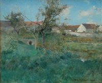 landscape in grez by willard leroy metcalf