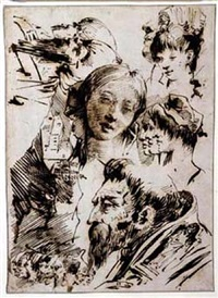 studies of heads; a fragment of landscape by giovanni domenico tiepolo