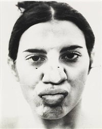 untitled (glass on body imprints – face) (detail) by ana mendieta