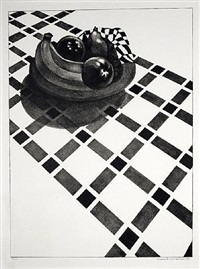 checkered tablecloth by louis lozowick